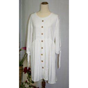 Mia White Linen Dress Size 8 Small Button Down Spring Summer Beach